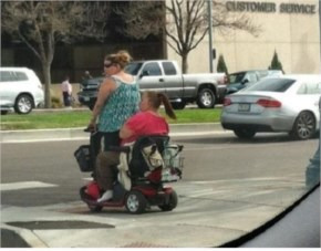 Funny Aunt Electric Cart To One Person Sitting Instead 2 Aunt Of Fat ! My Aunt Power Truly Perfectly Timed Photo