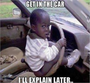 Funny Baby driving car