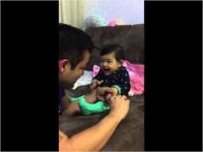 Funny baby while cutting nail
