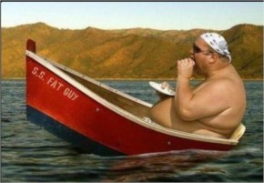 Funny Fat Man Eating In Boat ...
