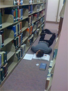 Funny Image on Student in Library