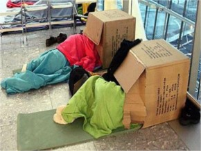Funny People sleeping on Airport