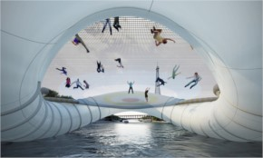 Funny  Trampoline bridge Paris Bounce Your Way Across The Seine River