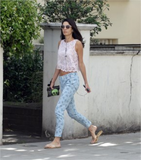 George Clooney's Fiancee Amal Alamuddin Bares Her Midriff While Out And ABout