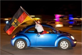 German soccer fans celebrate after Germany beat Algeria at the World Cup