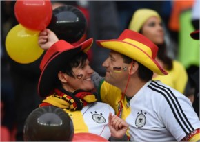 Germany vs Algeriasoccer fan wearing contact lenses that mimic the Brazilian flag