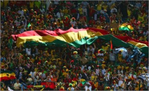 Ghana fans cheer during the 2014 FIFA World Cup Brazil