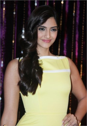 Gorgeous sonam kapoor in yellow dress at a promotional event