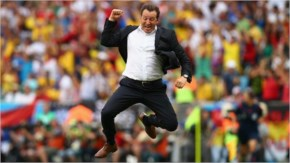 Head coach Marc Wilmots of Belgium reacts after defeating Russia 1-0 during the 2014 FIFA World Cup Brazil Group H match between Belgium and Russia at Maracana.