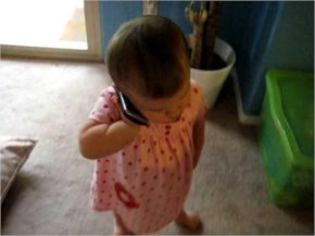 Hilarious! Baby talking on the phone