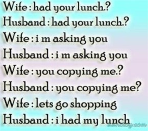 Husband and wife funny lunch