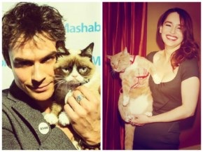 Ian Somerhalder and Emilia Clarke becomes the Mother of Cats for Breakfast at Tiffany's Press Preview