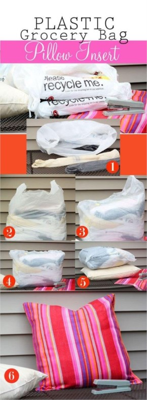 If you already have throw pillows, make them patio-ready by using a grocery bag insert.