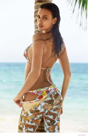 Irina Shayk Flaunts Tan in Agua Bendita Swimsuit Shoot