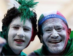 Italy fans show off their face paint before the Group D World Cup soccer match between England and Italy at the Arena da Amazonia in Manaus, Brazil