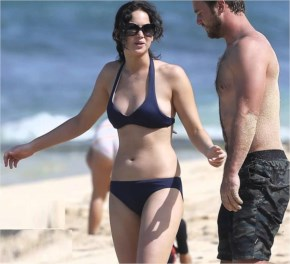 Jennifer Lawrence wearing a bikini top at a beach in Hawaii