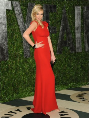 Kate Upton Red Evening Dress At 2012 Vanity Fair Oscar Party Red Carpet