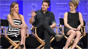 Katie Cassidy, Stephen Amell and Emily Bett Rickards discuss Arrow at PlaeyFest 2015. Photo