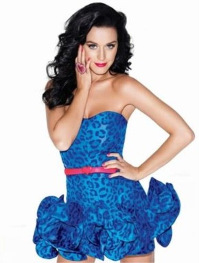Katy Perry Look Awasome in Blue Leopard Print Dress