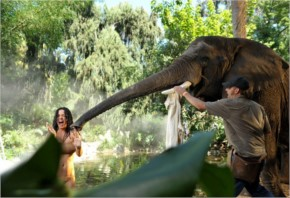 Katy Perry with behind scene while taking bath with elephant