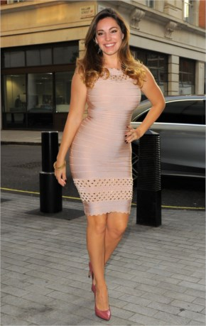 Kelly Brook Leaving Her Hotel and Going to Radio 1 BBC Studio
