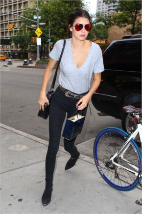 Kendall Jenner looking Hot in jeans and t-shirt at NYC