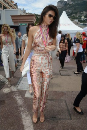 Kendall Jenner Style -  Paisley outfit at the F1 Grand Prix of Monaco in Monte Carlo