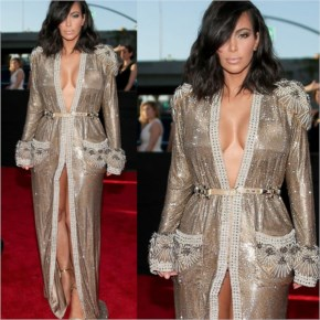 Kim Kardashian wearing Sexy Silver Dress