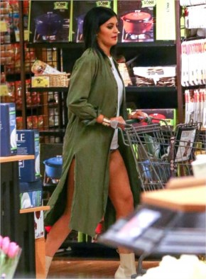 Kylie Jenner grocery store olive coat jacket green