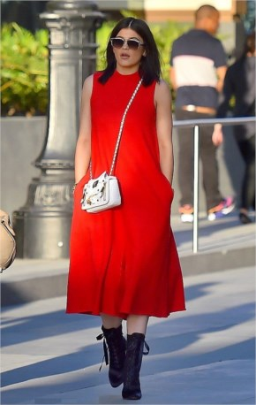 Kylie Jenner Street Style - looked summery in fiery red