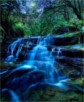 Leura Cascades Night Flow by Toma Iakopo
