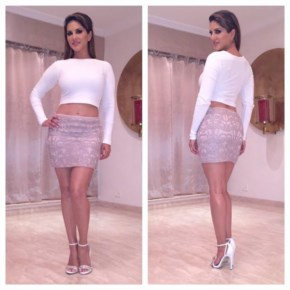 Looking so Sexy and Hot sunny Leone in Top club Monaco and super cute skirt