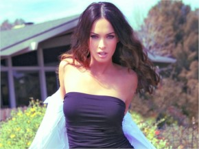 Megan Fox casual figure in a black Sweats
