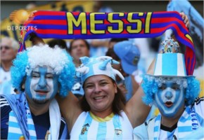 Messi fans enjoy the atmosphere prior to the 2014 FIFA World Cup Brazil