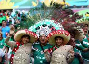 Mexico fans pose prior to the 2014 FIFA World Cup