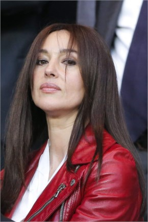 MONICA BELLUCCI at Paris SG vs FC Barcelona Game at Parc Des Princes in Paris