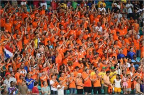 Netherlands fans cheer during the 2014 FIFA World Cup Brazil