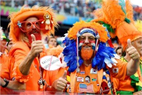 Netherlands fans enjoy the atmosphere prior to the 2014 FIFA World Cup Brazil