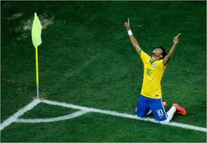 Neymar of Brazil celebrates during the 2014 FIFA World Cup Brazil