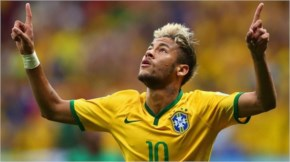 Neymar of Brazil celebrates scoring his team's second goal and his second of the game during the 2014 FIFA World Cup Brazil