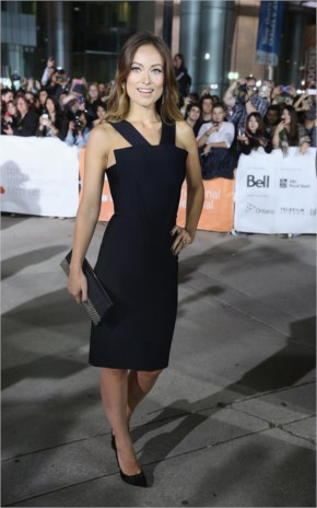 Olivia Wilde in her Classic dress of fitted black sheath at the Rush premiere