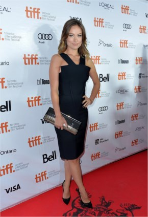 Olivia Wilde in her classic with a twist Dress of little black Roland Mouret dress in the premiere of Rush at Toronto
