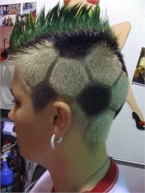 OMG! This is crazy! This guy is so much in love with soccer that he has made a hair tattoo of soccer ball.