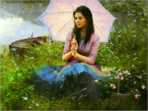 Painting girl spring lovely peaceful beauty