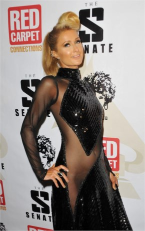 PARIS HILTON at 4th Annual Red Carpet Pre-Grammy Celebration at Boulevard3