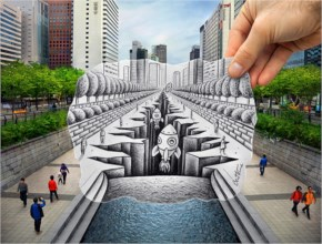 Pencil Vs Camera…Space Shuttles Taking Off From The Heart Of Seoul - Art By Ben Heine