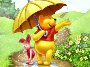 Pooh dancing with joy
