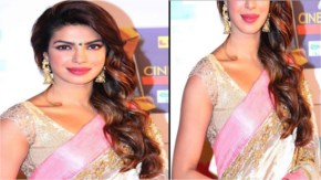 priyanka chopra performing in pink saree at an award function