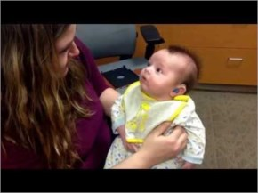 Reaction of Baby when he hears his mom for the first time with hearing aids.