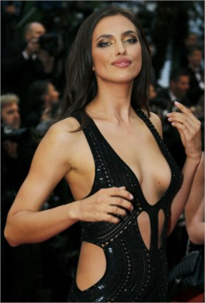 Russian model Irina Shayk poses on the red carpet